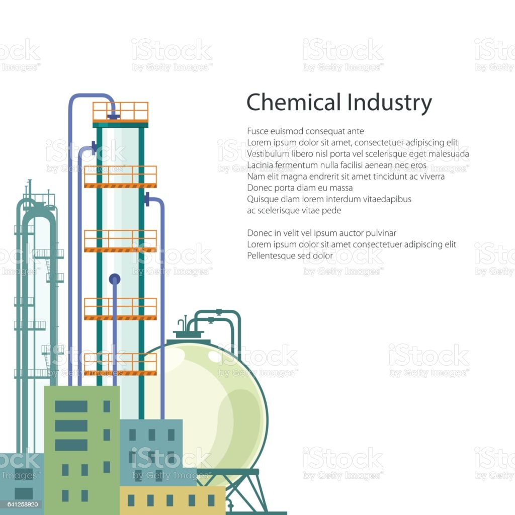 Chemical Plant Isolated and Text vector art illustration