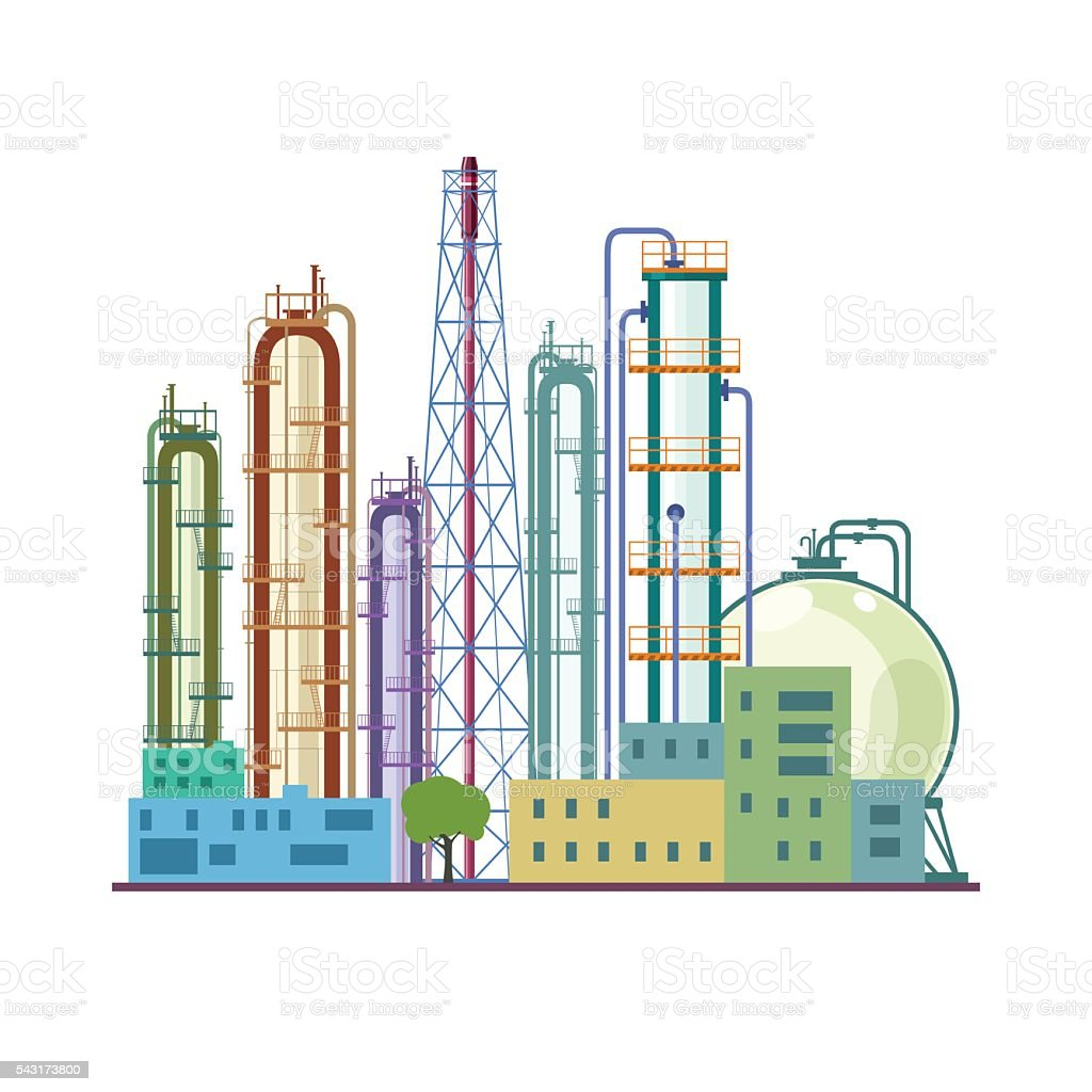 Chemical Plant  Isolated on White vector art illustration