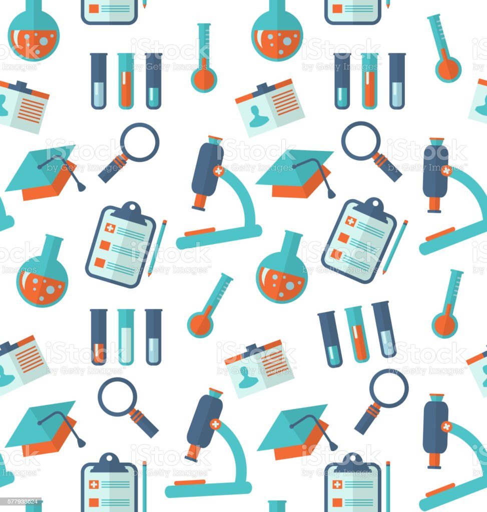 Chemical Seamless Pattern with Different Laboratory Objects vector art illustration