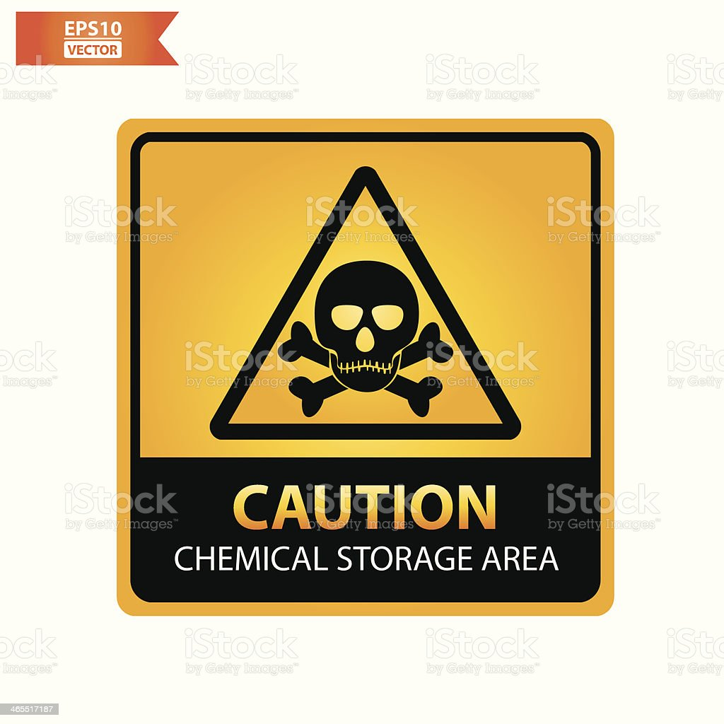Chemical storage area text and sign. vector art illustration
