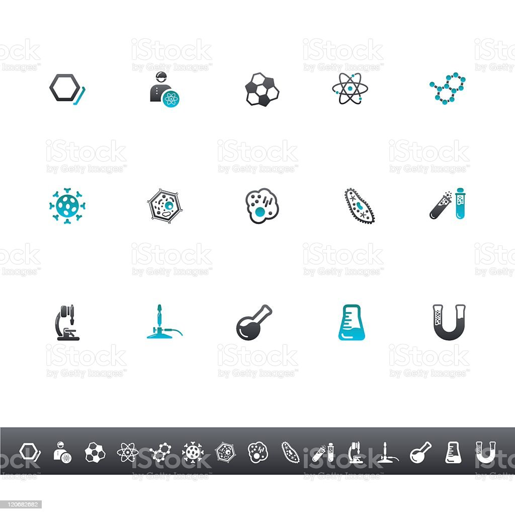 Chemistry And Biology Icons   Blue Grey vector art illustration