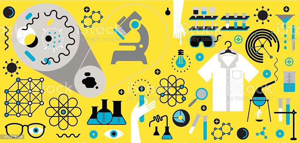 Chemistry and science symbols vector art illustration
