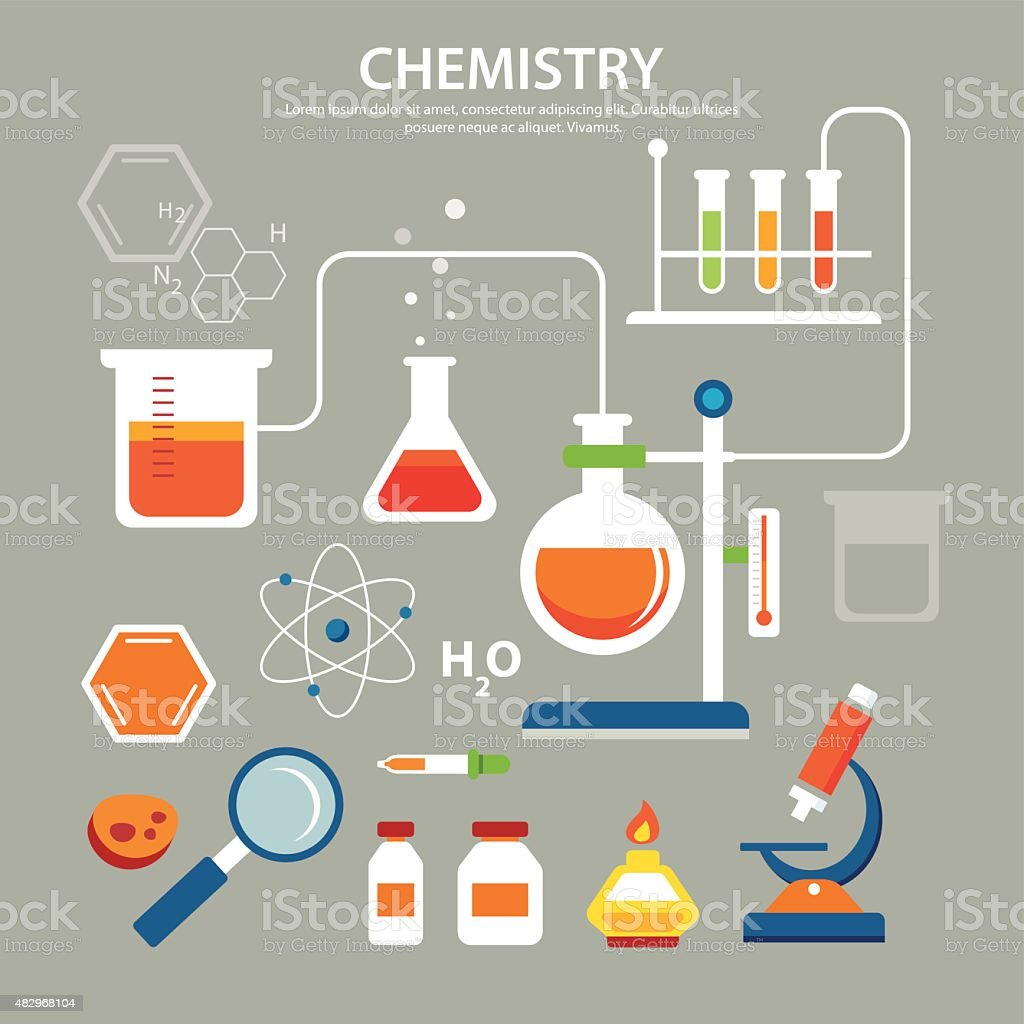 chemistry background education concept flat design vector art illustration