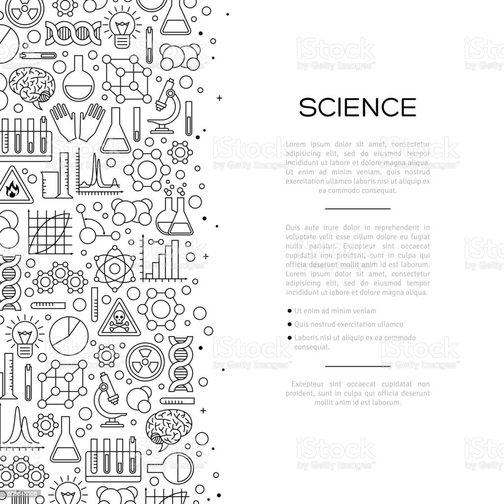 Chemistry Background with Line Icons vector art illustration