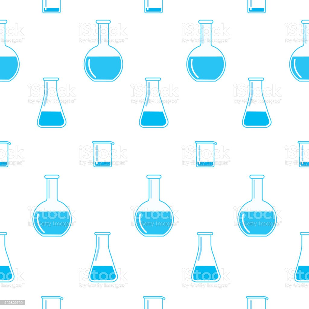 Chemistry Beakers Pattern vector art illustration
