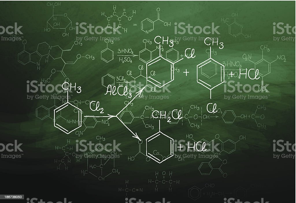 Chemistry blackboard vector art illustration