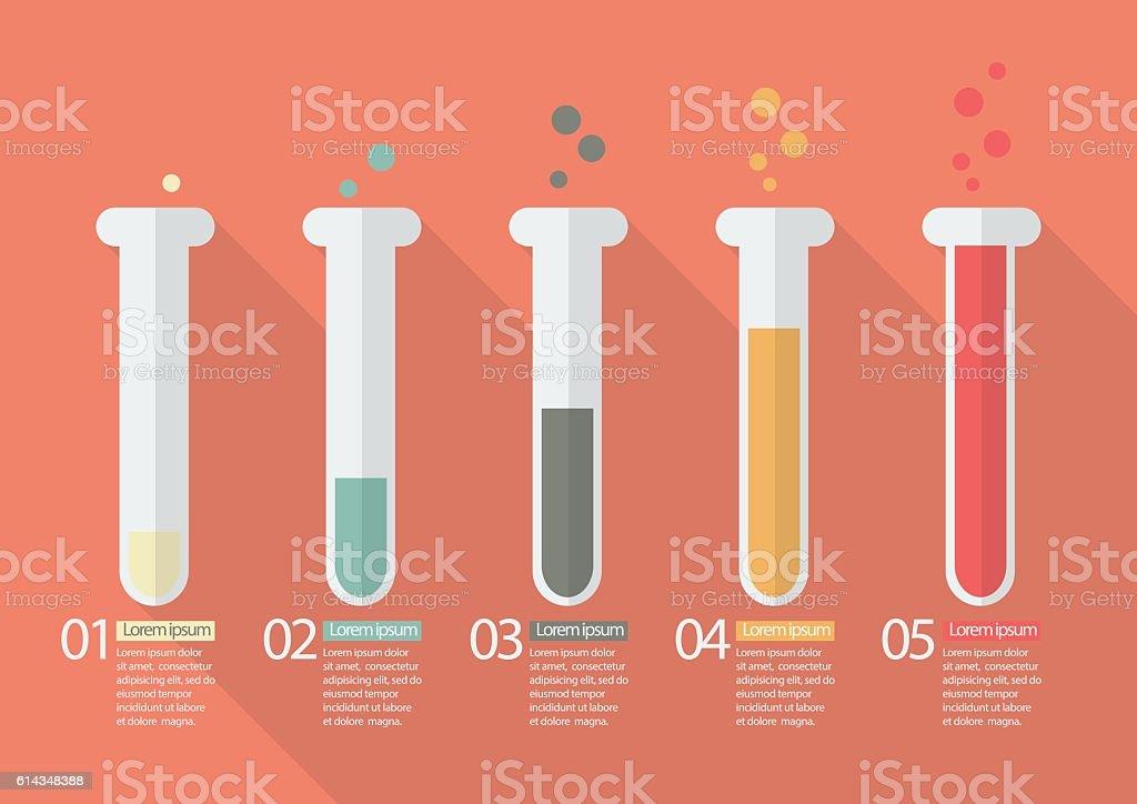 Chemistry Bulb Bar Graph Infographic vector art illustration