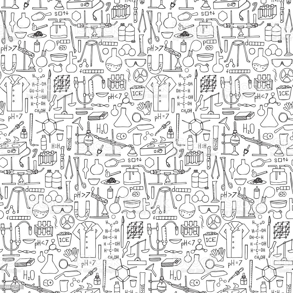 Chemistry doodle seamless pattern vector art illustration