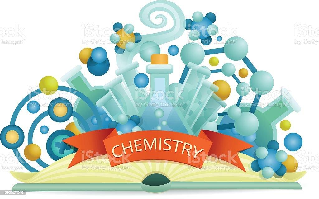 Chemistry emblem. Opened science book concept vector art illustration