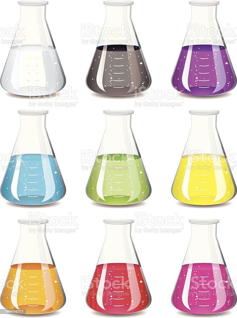 chemistry flask collection royalty-free stock vector art