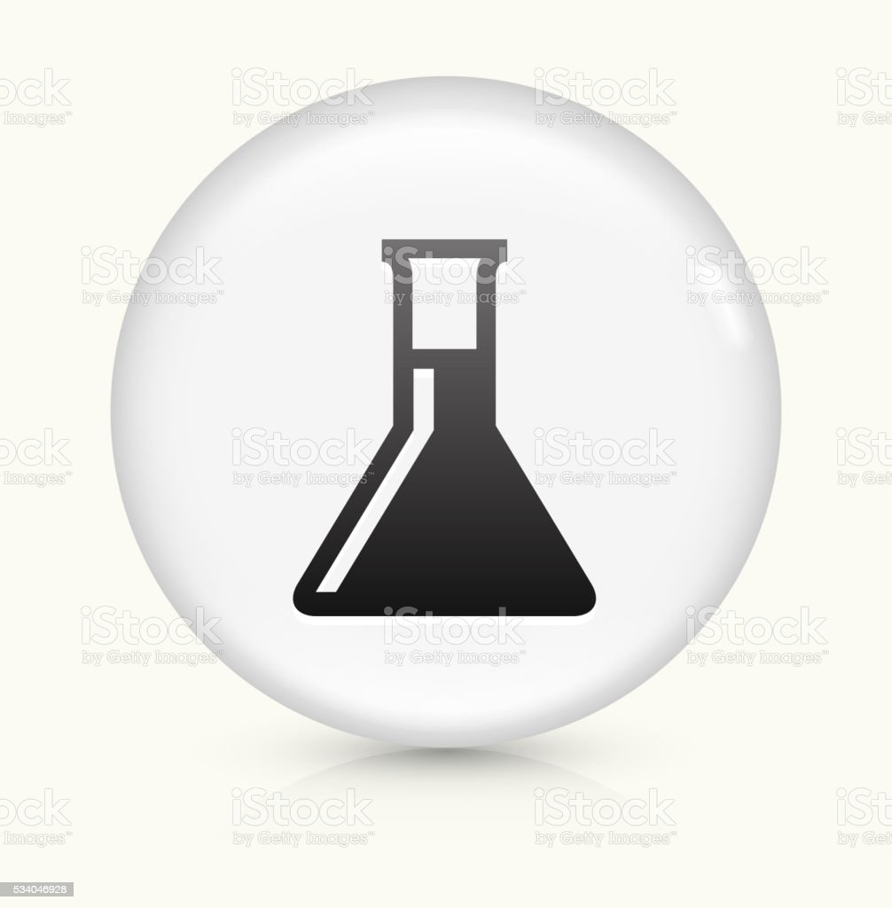Chemistry Flask icon on white round vector button vector art illustration