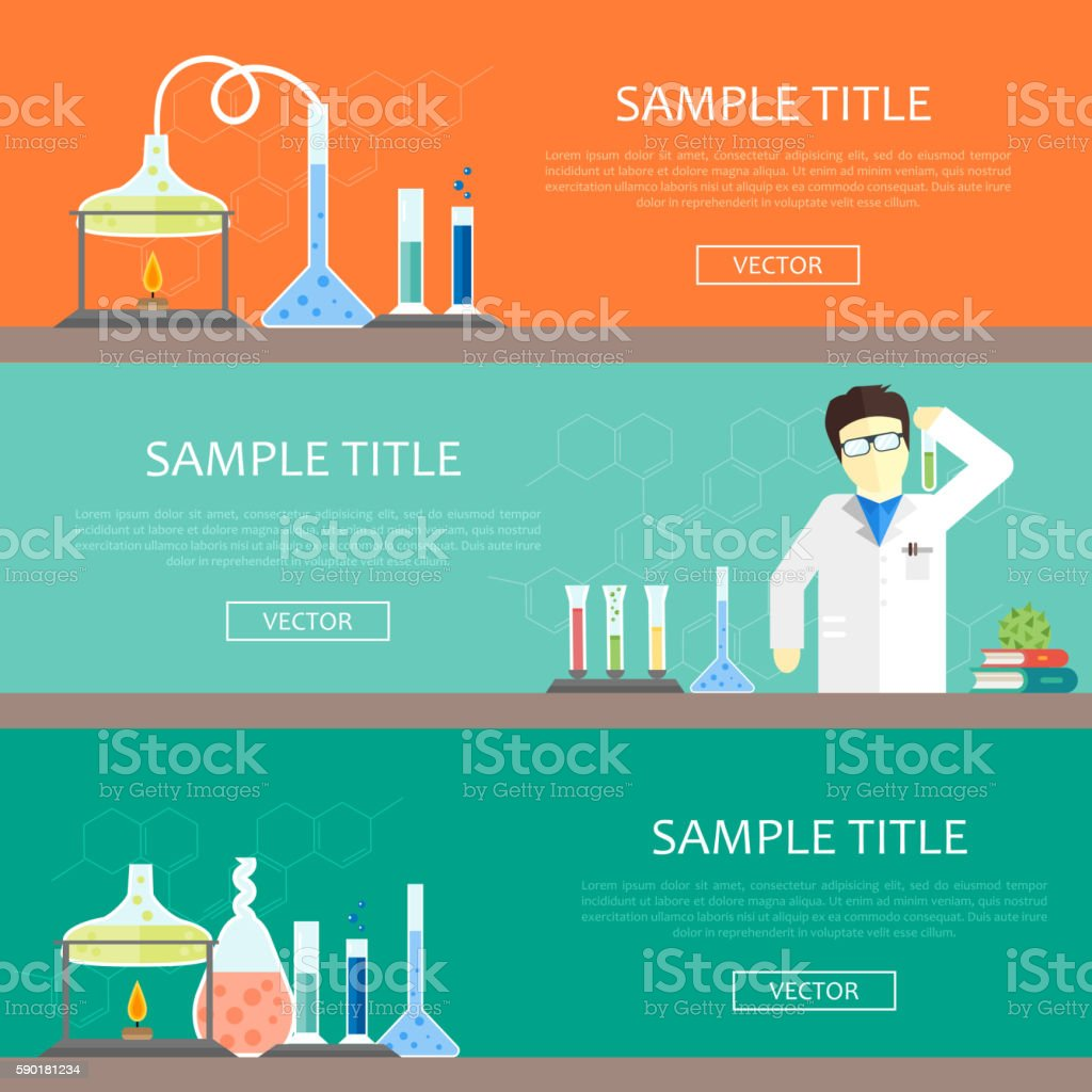 Chemistry infographics banners vector art illustration