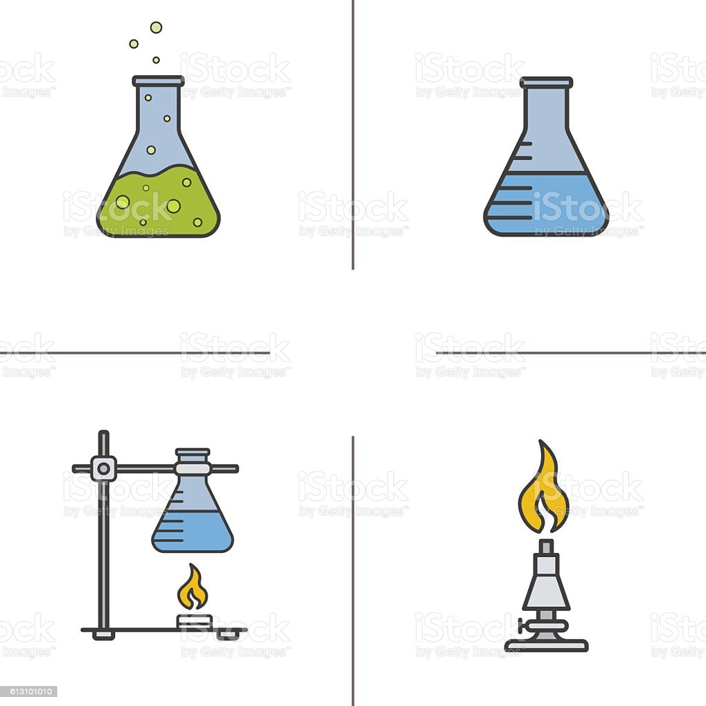 Chemistry lab color icons set vector art illustration