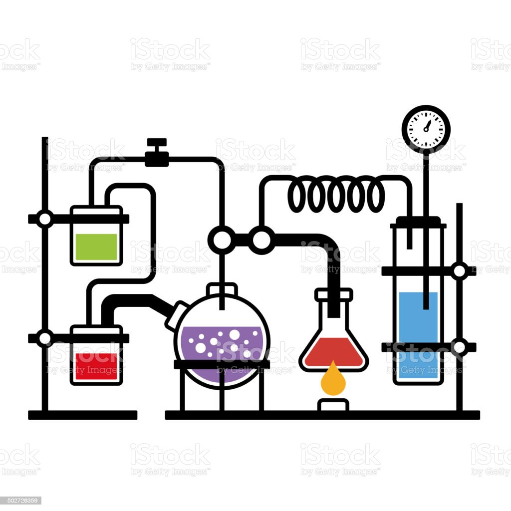 Chemistry Laboratory Infographic royalty-free stock vector art