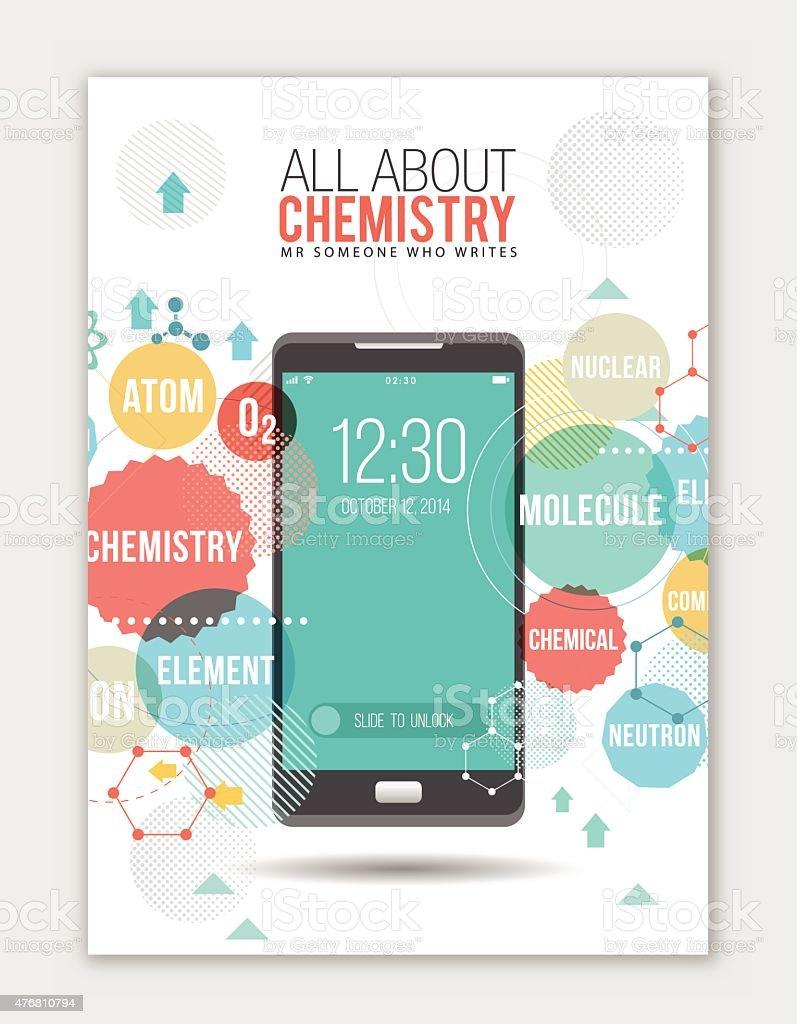 Chemistry on smartphone template vector art illustration