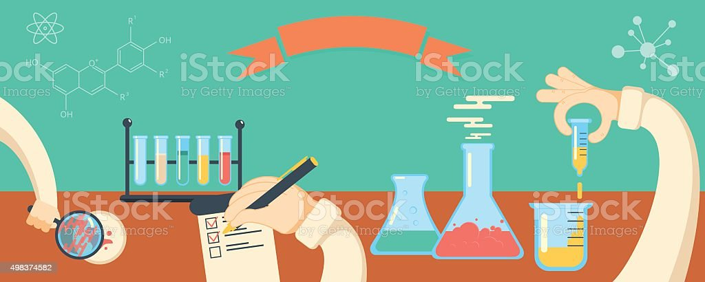 Chemistry research horisontal vector banner vector art illustration