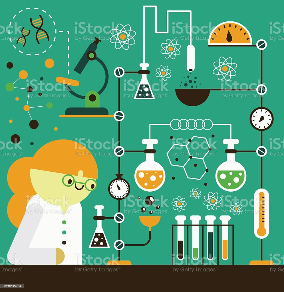 Chemistry Research vector art illustration