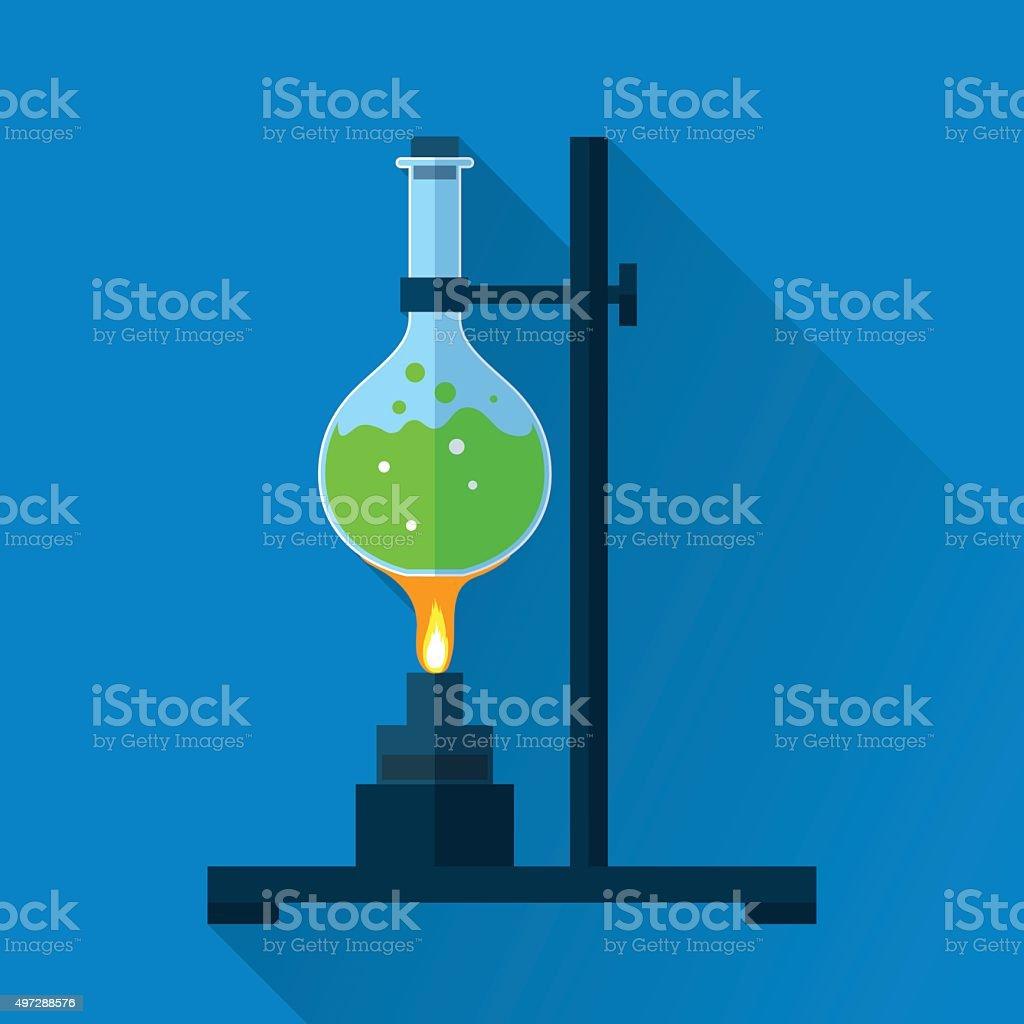 Chemistry tube on lab burner vector art illustration