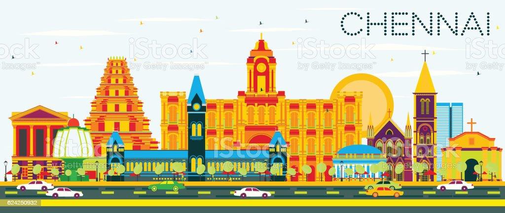 Chennai Skyline with Color Landmarks and Blue Sky. vector art illustration