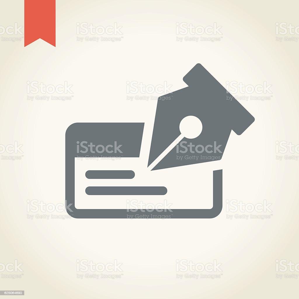 Cheque icon vector art illustration