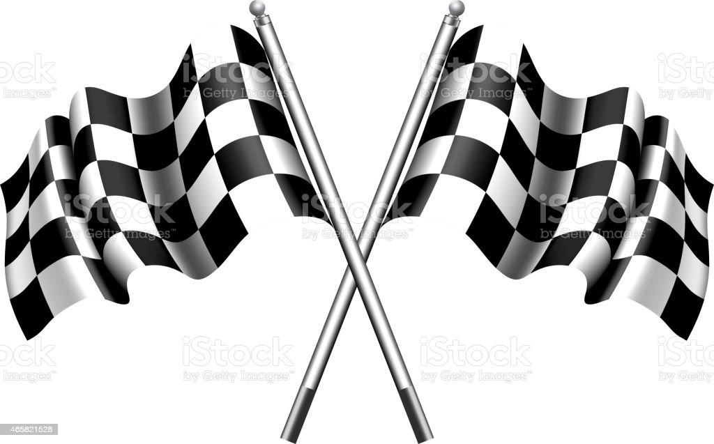 Chequered Flags Motor Racing vector art illustration