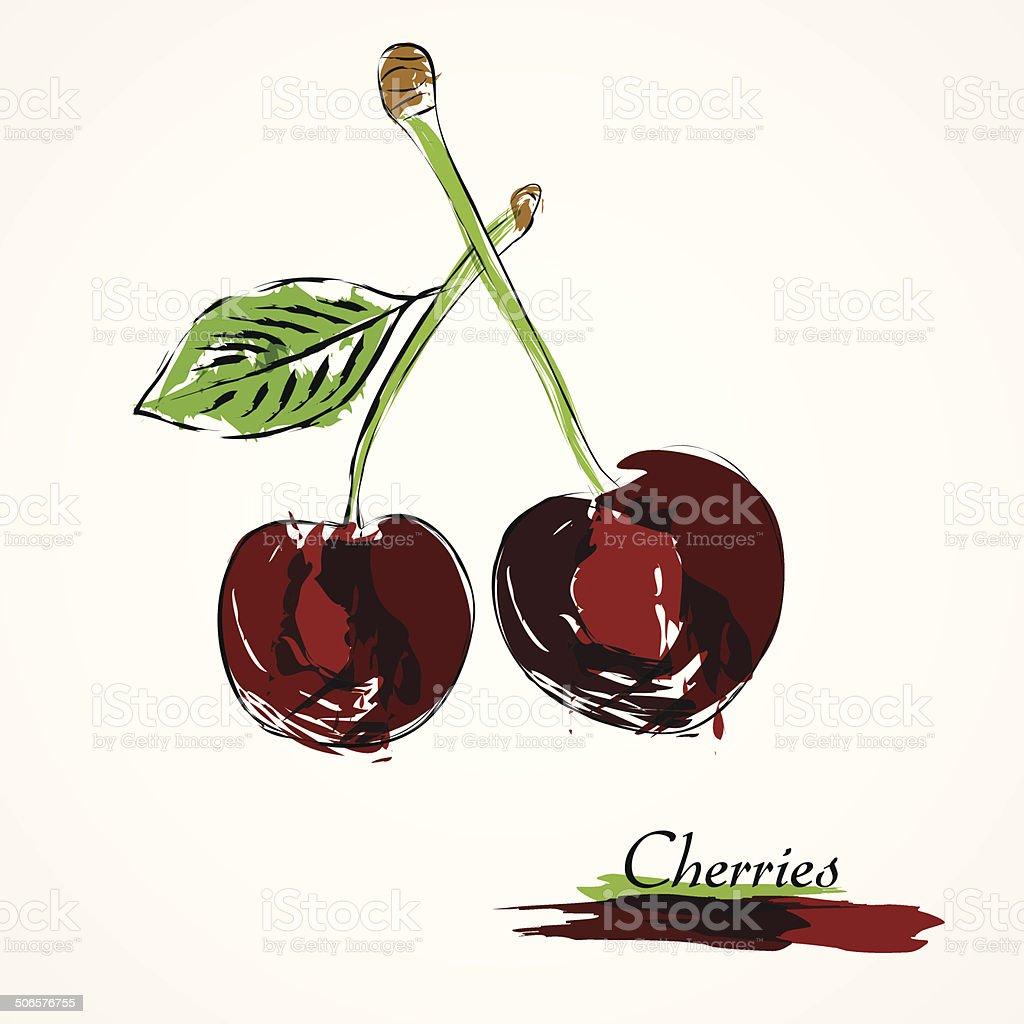 Cherries fruit royalty-free stock vector art