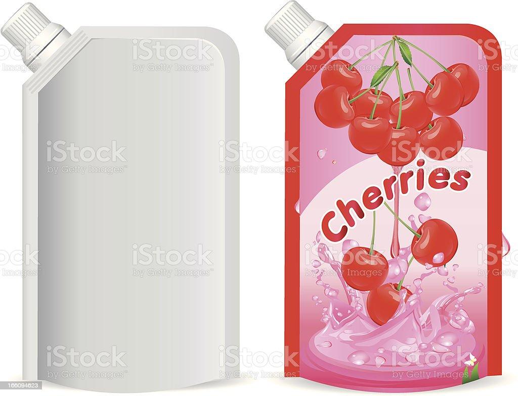 Cherries juice packaging design, vector illustration royalty-free stock vector art