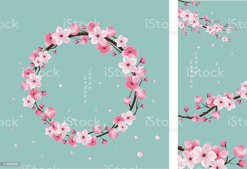 cherry blossom collection , greeting cards vector art illustration
