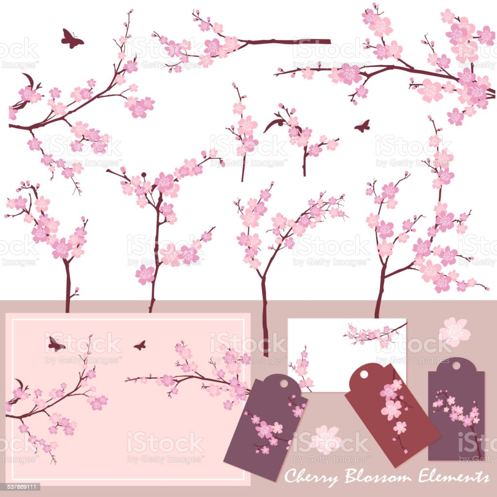 Cherry Blossom (Sakura) Elements vector art illustration