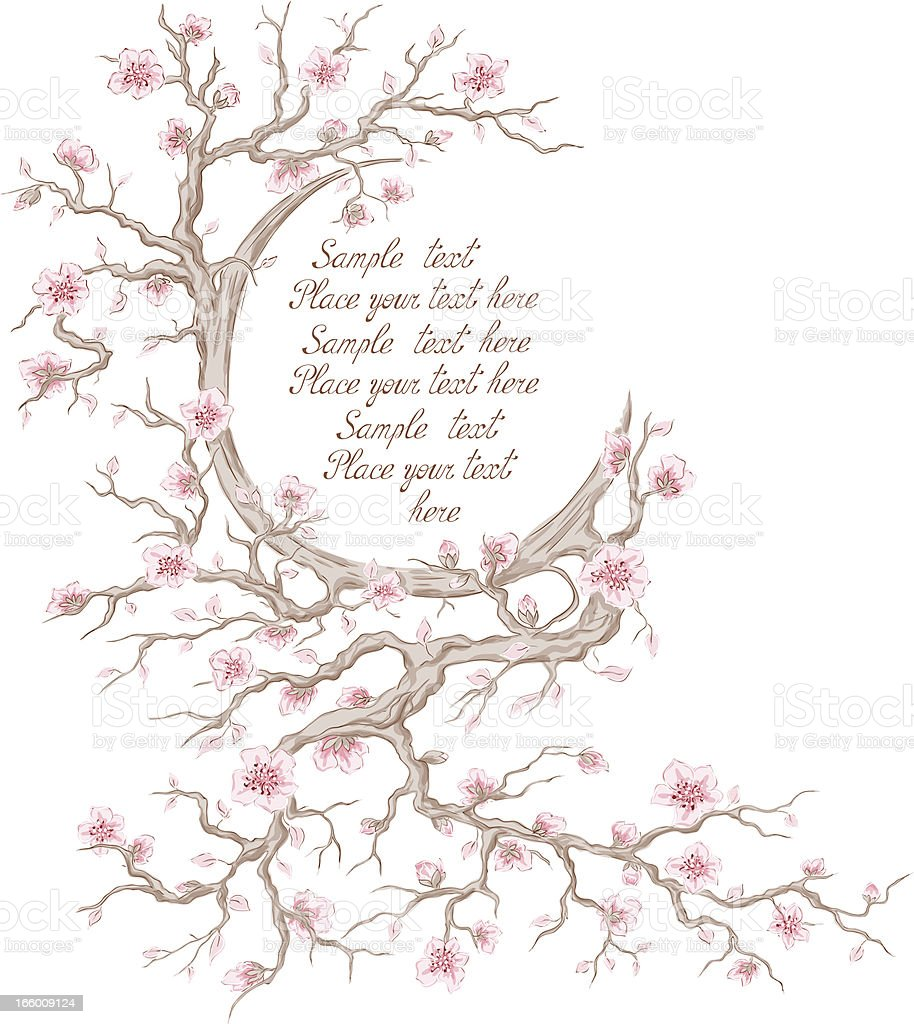 Cherry blossom frame royalty-free stock vector art