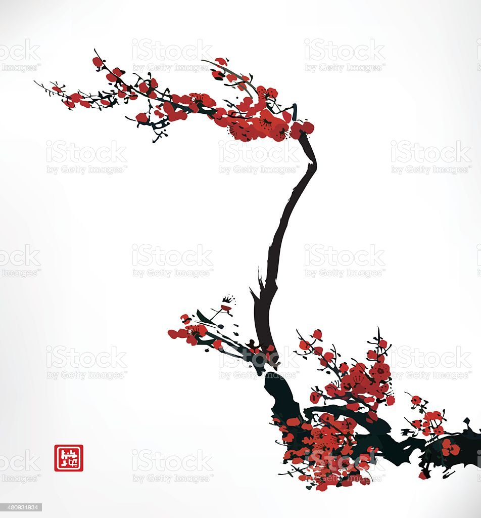 cherry blossom ink painting vector art illustration
