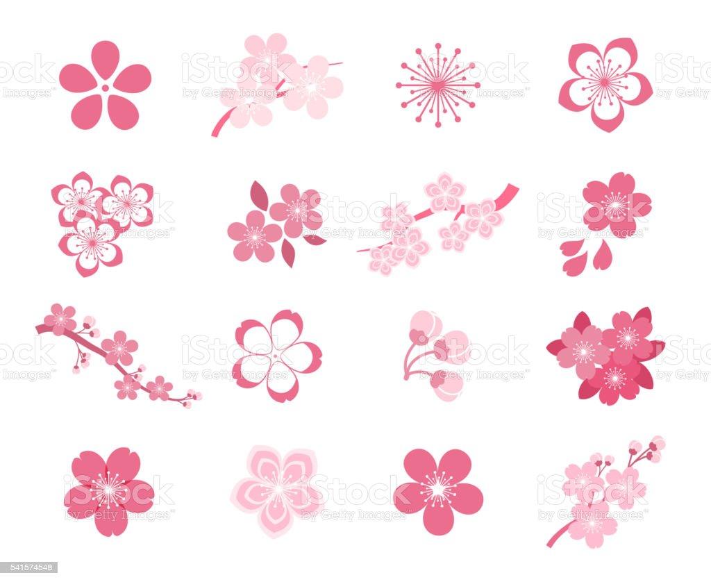 Cherry blossom japanese sakura vector icon set vector art illustration