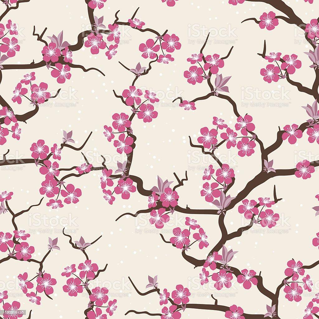 Cherry blossom seamless flowers pattern. royalty-free stock vector art