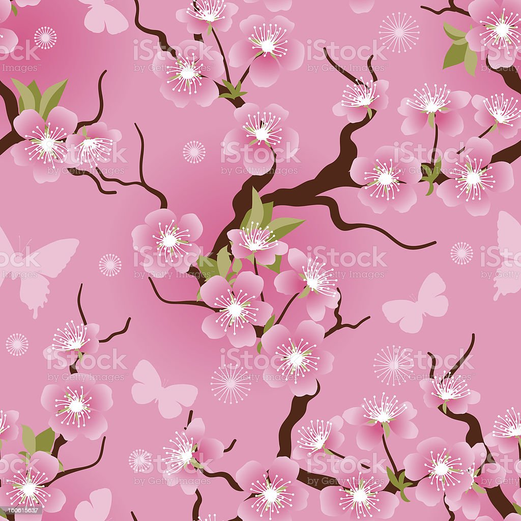 Cherry blossom seamless flowers pattern. royalty-free stock vector art