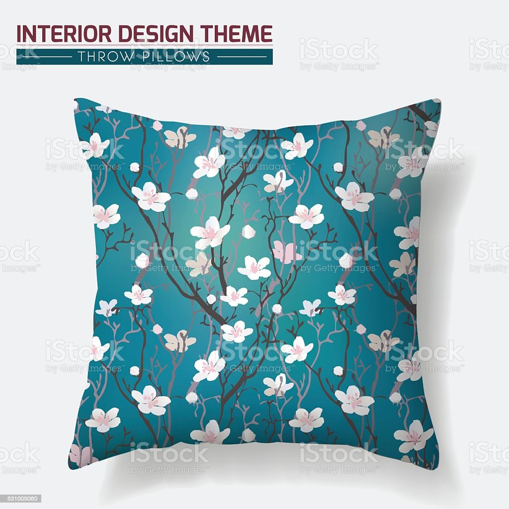 Cherry Blossom Throw Pillow design template vector art illustration