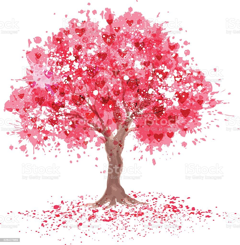 Cherry blossom tree in abstraction style. vector art illustration