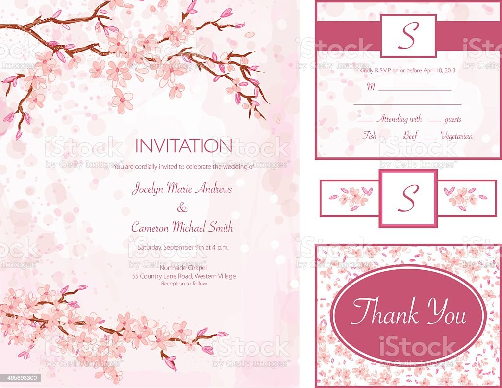 Cherry Blossom Water Color Style Wedding Invitation Set vector art illustration