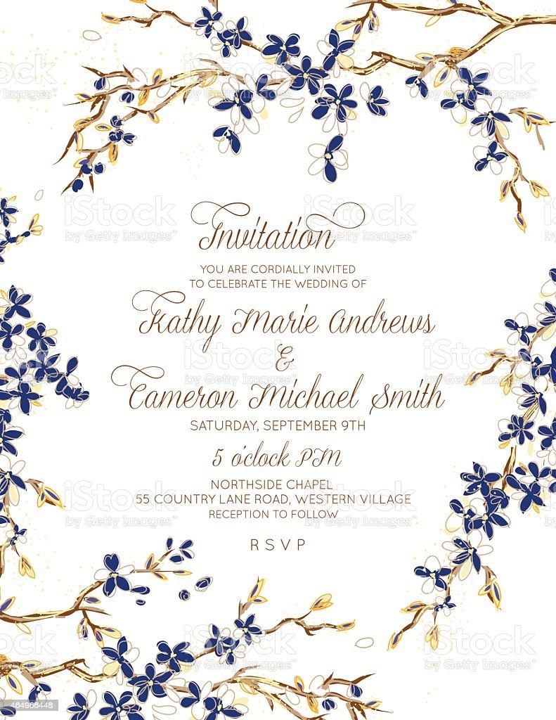 Cherry Blossom Wedding Invitation Set vector art illustration