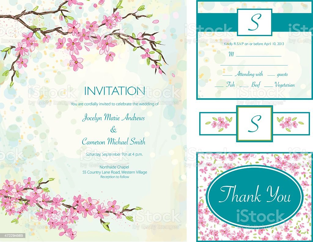 Cherry Blossom Wedding Invitation Set royalty-free stock vector art