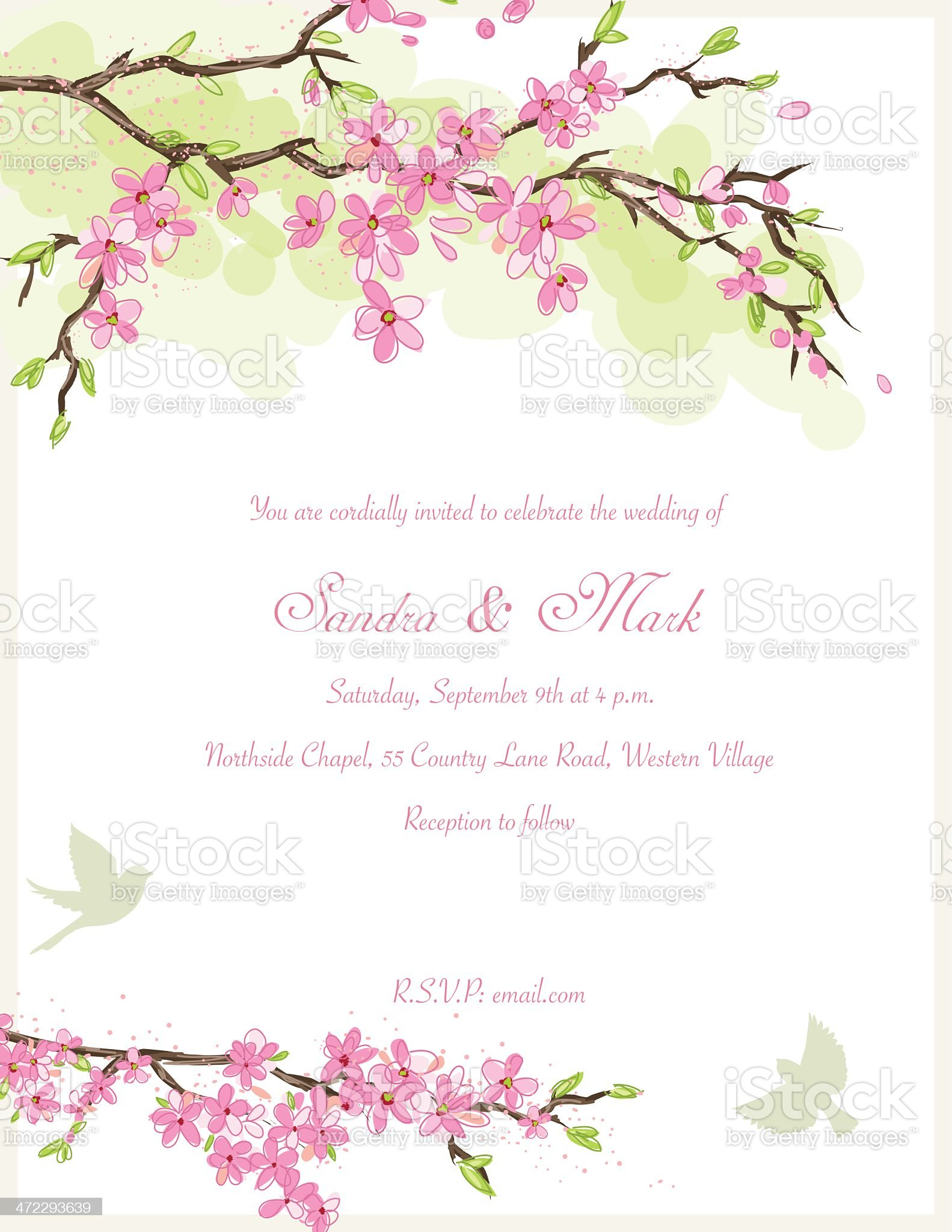 Cherry Blossom Wedding Invitation royalty-free stock vector art