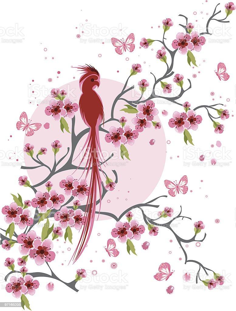 Cherry blossom with bird royalty-free stock vector art