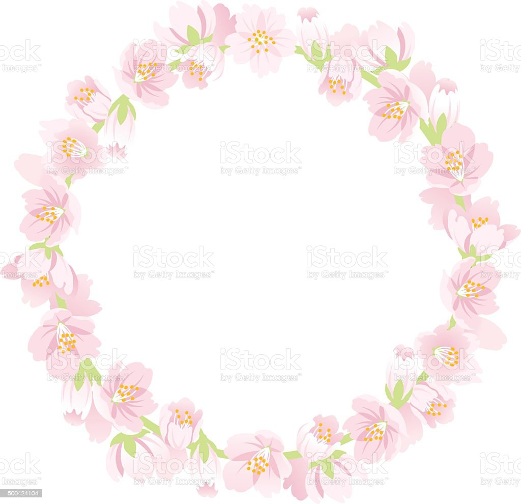 Cherry Blossom Wreath Isolated vector art illustration