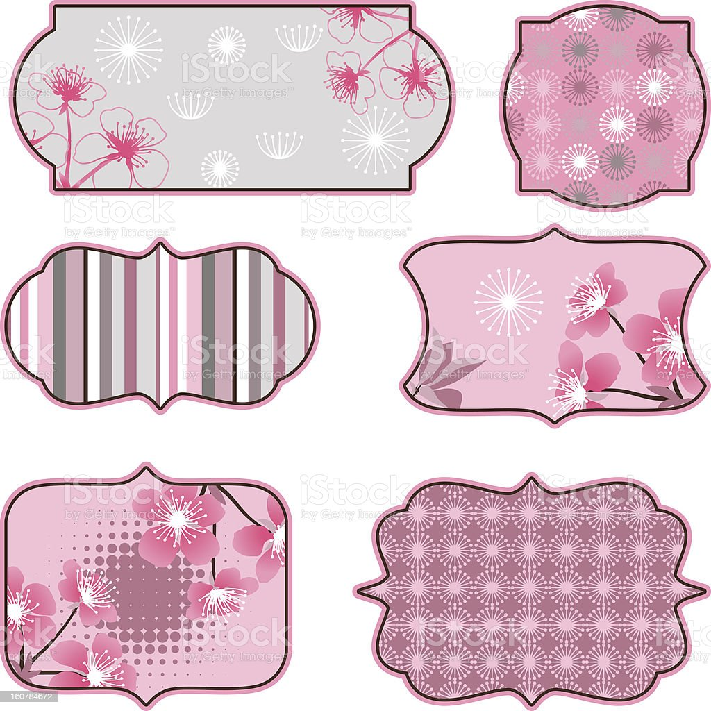 Cherry blossoms design elements, labels and stickers. royalty-free stock vector art