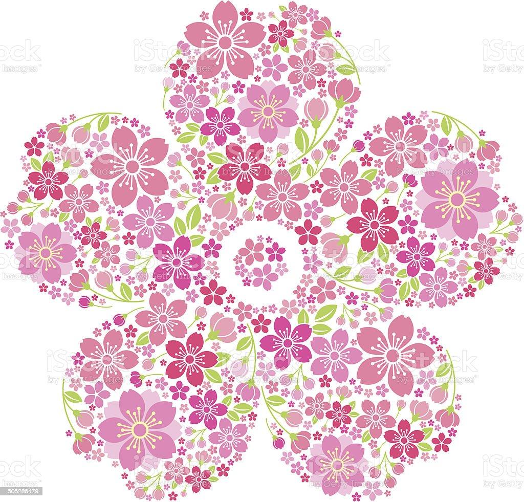 Cherry blossoms in full bloom vector art illustration
