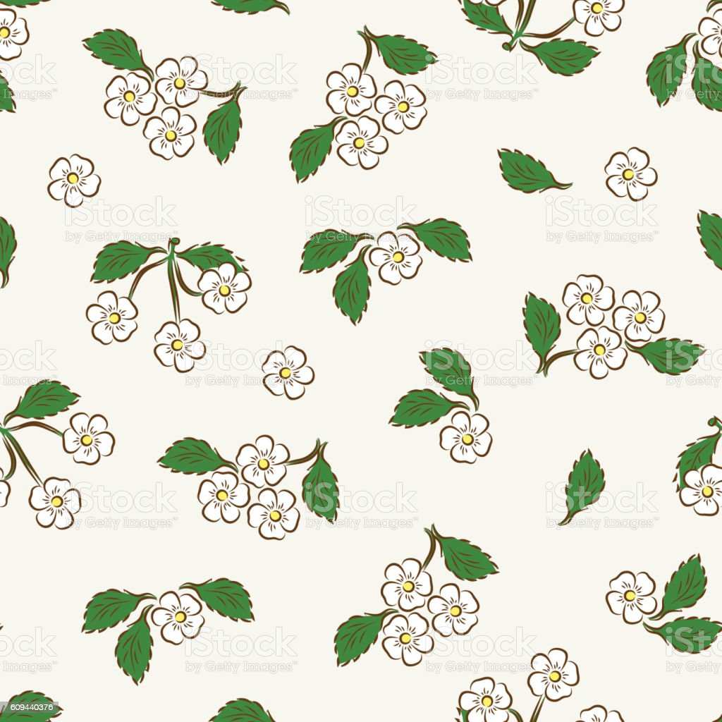 Cherry Blossoms Seamless Pattern Vintage Floral Background Royalty Free Stock Vector Art
