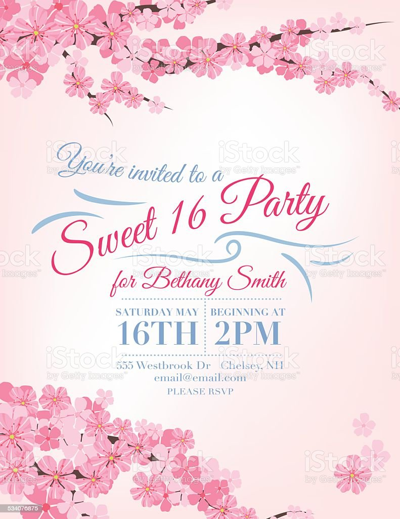 Cherry Blossoms Sweet 16 Birthday party Invitation Template vector art illustration