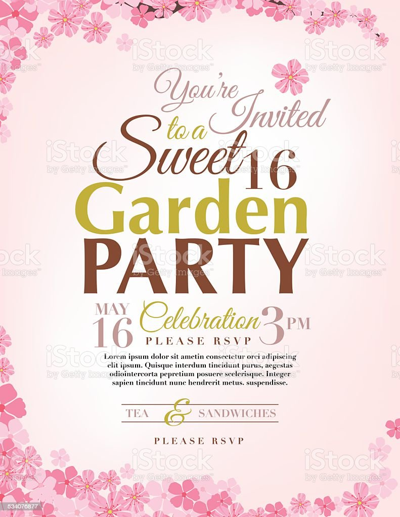 Cherry Blossoms Sweet 16 Birthday Party Invitation Template stock – Sweet 16 Party Invitations Templates Free
