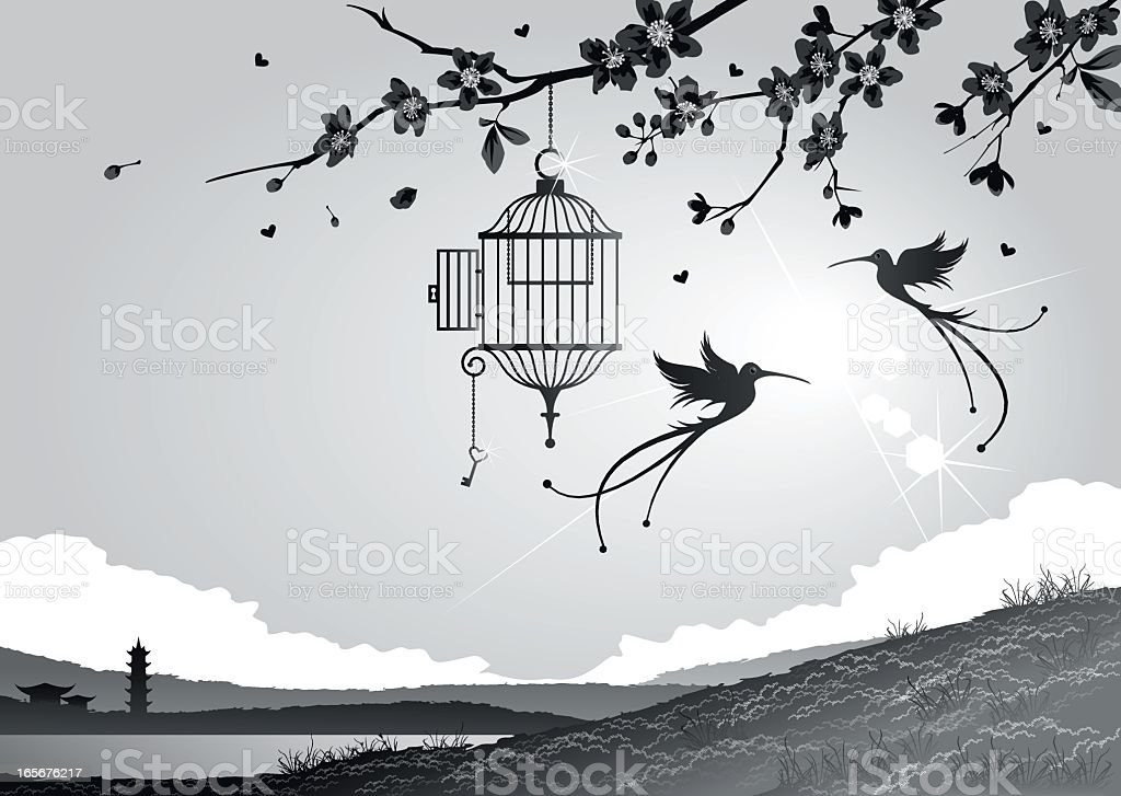 Cherry blossoms with birds and cage vector art illustration