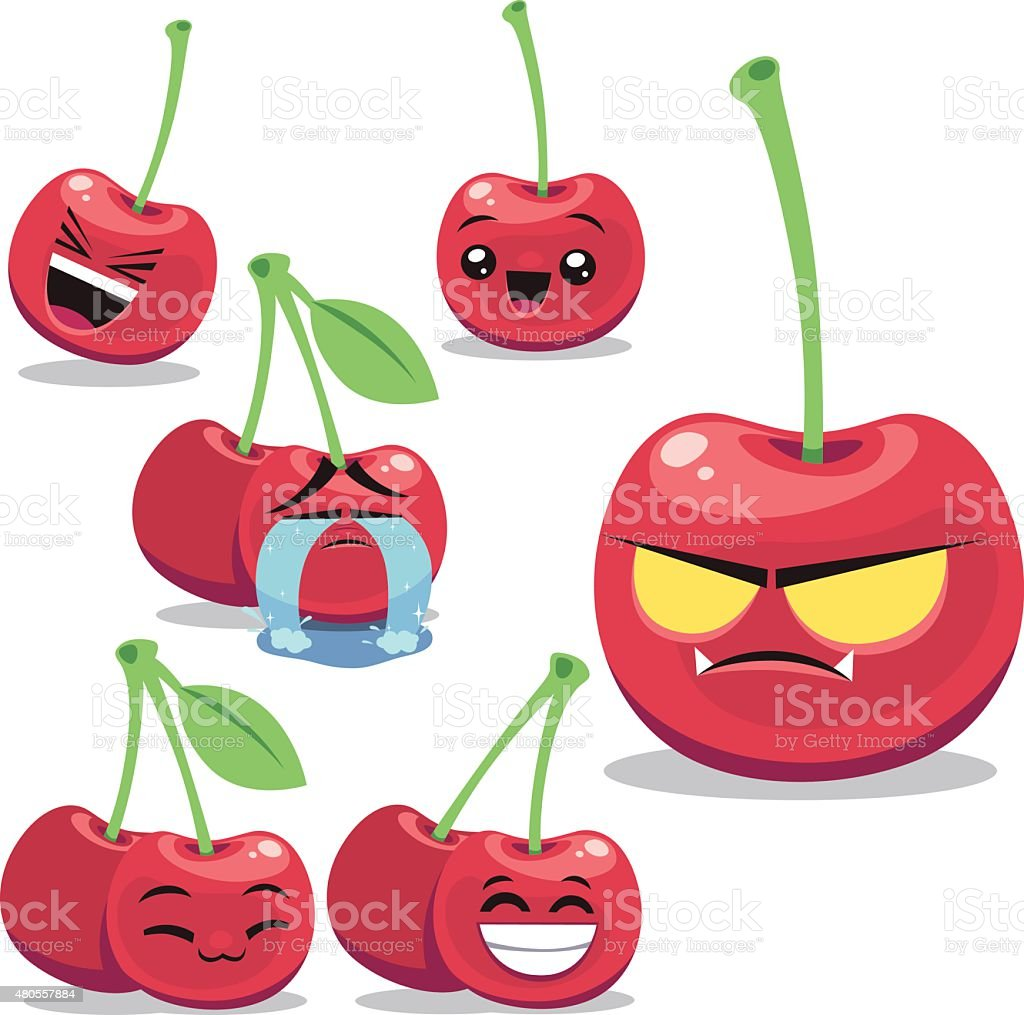 Cherry Cartoon Set B vector art illustration