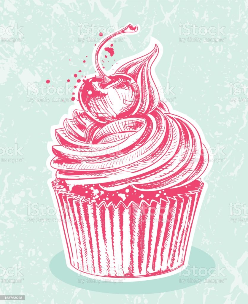 Cherry Cupcake Drawing royalty-free stock vector art